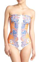 Clover Canyon One-piece Paisleyprint Strapless Swimsuit - Lyst