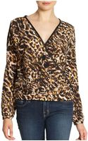Pjk Patterson J. Kincaid El Ray Printed Leather Trimmed Blouse - Lyst