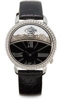 Versace Stainless Steel Black Leather Strap Watch - Lyst