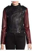 W118 By Walter Baker Vikki Contrastsleeve Leather Moto Jacket - Lyst