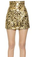 Dolce & Gabbana Embossed Pvc High Waisted Mini Skirt - Lyst