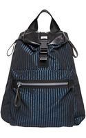 Lanvin Striped Nylon and Leather Backpack - Lyst