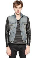 Saint Laurent Denim Leather Jacket - Lyst