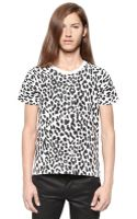 Saint Laurent Leopard Printed Cotton Jersey Tshirt - Lyst