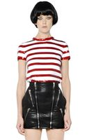 Saint Laurent Sequin Stripes Knit Cotton Top - Lyst