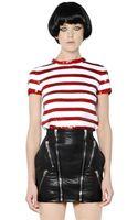 Saint Laurent Sequin Stripes Knit Cotton Top - Lyst