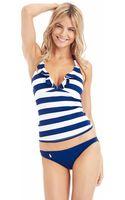 Ralph Lauren Blue Label Striped Ruffle Swim Halterkini - Lyst