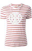 Tory Burch Striped Embellished Tshirt - Lyst