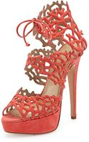 Charlotte Olympia Reef Suede Platform Sandal Coral - Lyst