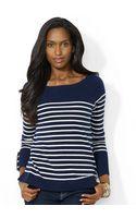 Lauren by Ralph Lauren Striped Wool Cashmere Sweater - Lyst