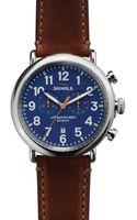 Shinola The Runwell Chronograph Brown Strap Watch 47mm - Lyst