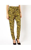 Asos Peg Trousers in Gold Oriental Print - Lyst