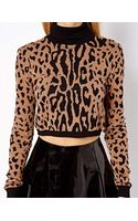 Asos Cropped Jumper with Roll Neck in Leopard - Lyst