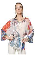 Roberto Cavalli Floral Printed Silk Georgette Caftan Top - Lyst