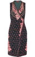 Vineet Bahl Embroidered Printed Chiffon Wrap Dress - Lyst