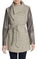 T Tahari Alba Pleather Sleeve Tweed Wrap Coat - Lyst