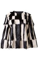 Isabel Marant Ivory and Black Fur Coat - Lyst