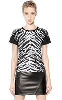 Saint Laurent Printed Lyocell Cotton Jersey Tshirt - Lyst