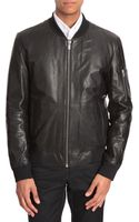 Hugo Black Leather Bomber Jacket - Lyst