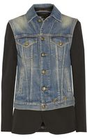 R13 Layered Leather-trimmed Twill Blazer and Denim Vest - Lyst
