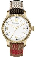 Burberry Ladies Goldtone Watch with House Check Strap - Lyst