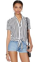 Nasty Gal Stripe It Down Silk Blouse - Lyst