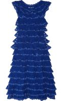 Oscar de la Renta Ruffled Crochetknit Cotton Dress - Lyst