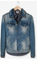 He By Mango Vintage Wash Denim Jacket - Lyst