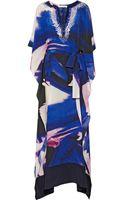 Oscar de la Renta Embellished Printed Silk Kaftan - Lyst