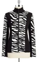 Jones New York Zebra Zip Up Sweatshirt - Lyst