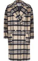 River Island Cream Check Brushed Woolen Midi Coat - Lyst