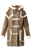 Band Of Outsiders Hooded Fur Duffle Coat - Lyst
