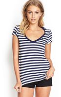 Forever 21 Striped Vneck Cotton Tee - Lyst