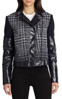 BCBGMAXAZRIA Madison Faux Leather Combo Moto Jacket - Lyst