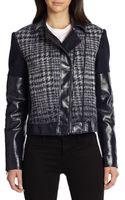 BCBGMAXAZRIA Madison Faux Leather Combo Moto Jacket - Lyst