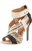 Badgley Mischka Keenan Strappy Sandal Blacknaturalbeige - Lyst