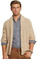 Polo Ralph Lauren Carded-cotton Shawl Cardigan - Lyst