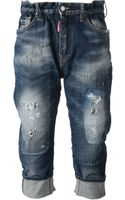 DSquared2 Distressed Cropped Jeans - Lyst