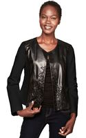 Ellen Tracy Faux-Leather Colorblock Embroidered Blazer - Lyst