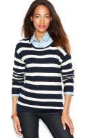 Maison Jules Striped Crew-neck Sweater - Lyst