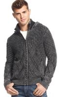 Guess Dawson Mix-stitch Hooded Sweater - Lyst
