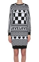Love Moschino Jacquard Cotton Dress with Love Pattern - Lyst