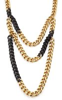 Michael Kors Pave Twotone Multirow Chain Necklace - Lyst