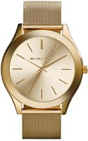 Michael Kors Midsize Golden Stainless Steel Mesh Slim Runway Threehand Watch - Lyst