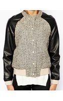 See U Soon Tweed Bomber Jacket with Pu Sleeves - Lyst
