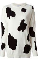 Moschino Cow Hide Intarsia Sweater - Lyst
