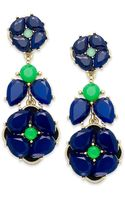 Kate Spade New York Goldtone Blue Green Flower Statement Earrings - Lyst