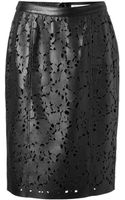 Burberry Leather Laser Cut Pencil Skirt - Lyst