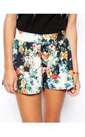 Asos Floral Printed Culotte Shorts - Lyst