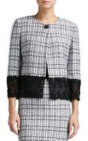 St. John Mini Paillette Plaid Knit 34-sleeve Jacket with Beaded Trim - Lyst
